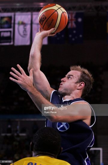 MELBOURNE, AUSTRALIA - MARCH 23:  Dan Wardrope of Scotland goes up for a shot during the 5th place play-off basketball match between Scotland and Barbados at the Multi Purpose Venue during day eight of the Melbourne 2006 Commonwealth Games March 23, 2006 in Melbourne, Australia.  (Photo by Ryan Pierse/Getty Images)